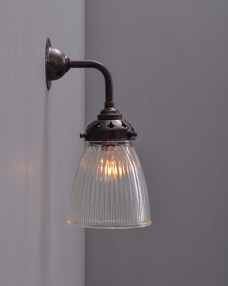 Industrial Wall Light Shades: Industrial Wall Light With Prismatic Glass Shade