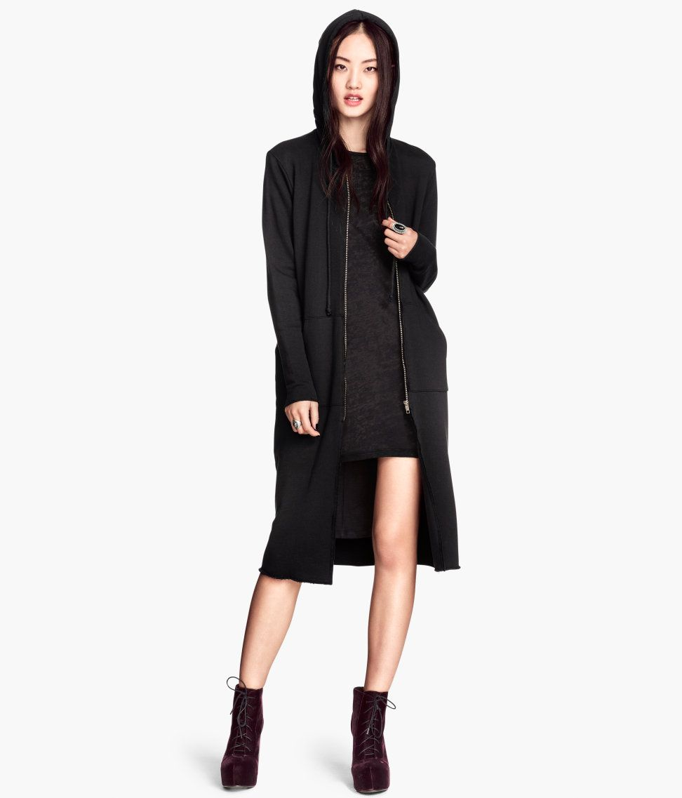 Long black sweatshirt cardigan with drawstring hood, front zip ...