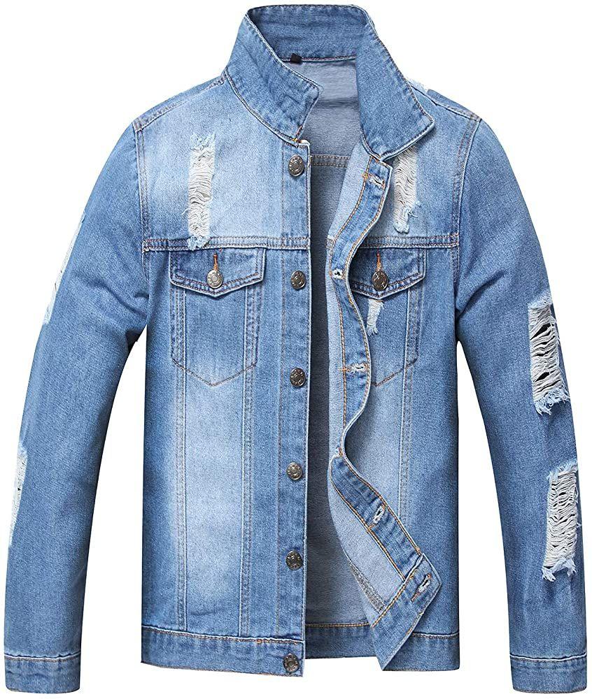 Jacket Jean Coat Jyher Men S Denim Jacket Classic Ripped Slim Jean Coat Jacket With Holes At Amazon Men S Clo Jeans Coat Jackets Jean Jacket Men Denim Jacket [ 1000 x 846 Pixel ]
