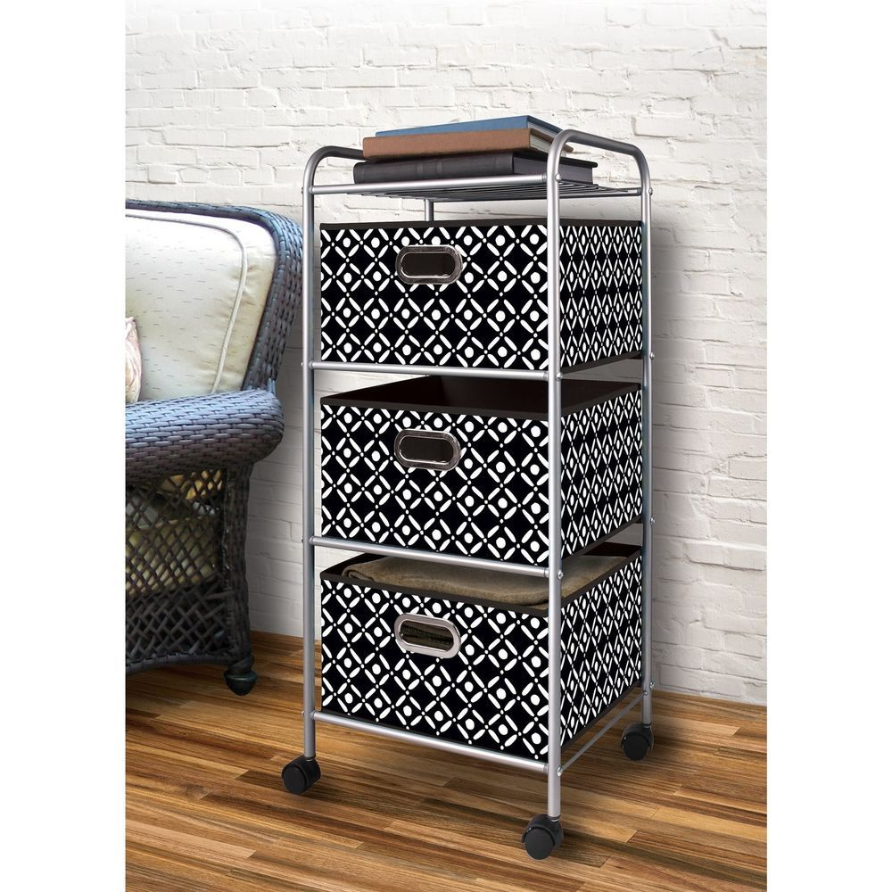 Dorm Room Storage Organizer 3 Drawer Rolling Cart Student Bedroom Office Closet Dormroomstorage