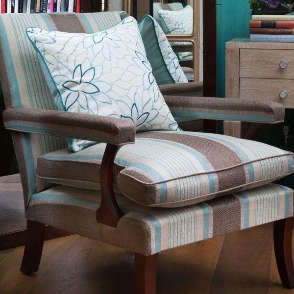 Lola Aqua Cushion on a Mckenzie chair upholstered in Valdivia