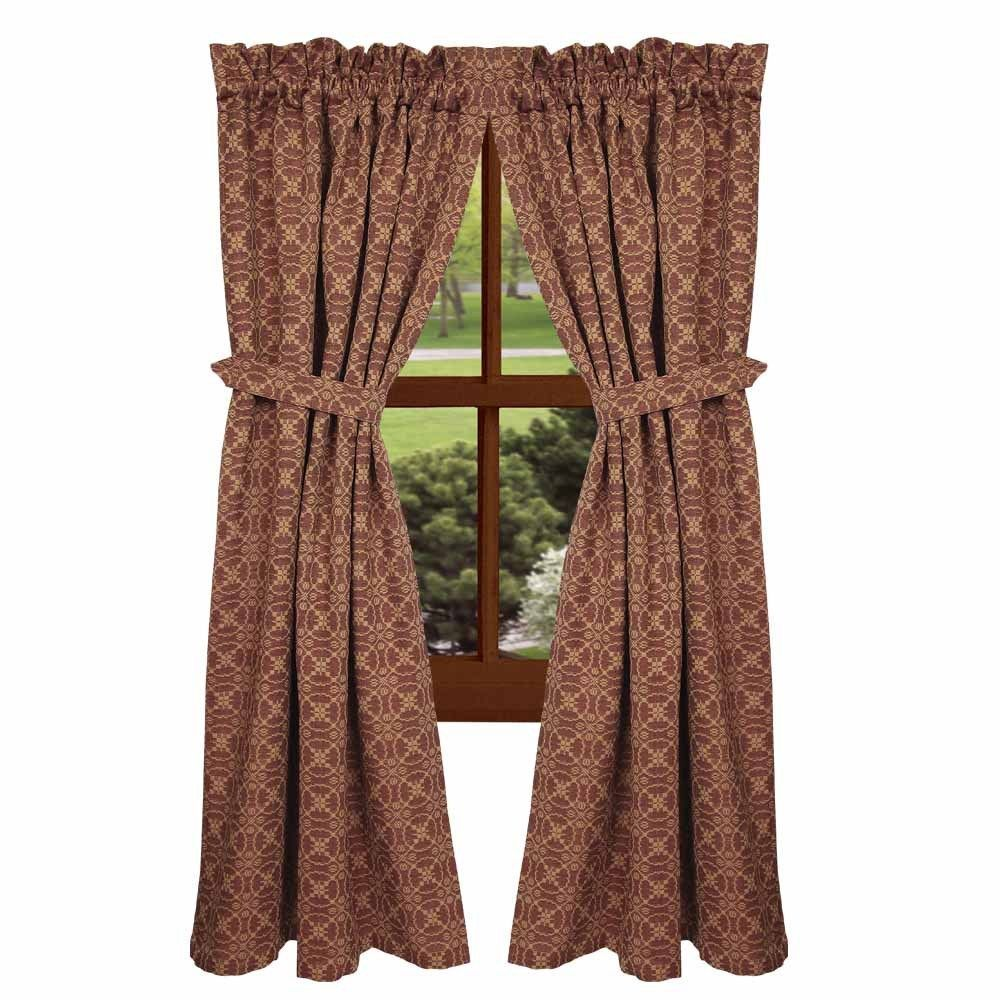 New Primitive Colonial Barn Red Tan Coverlet Lover S Knot Curtain D Panels Country