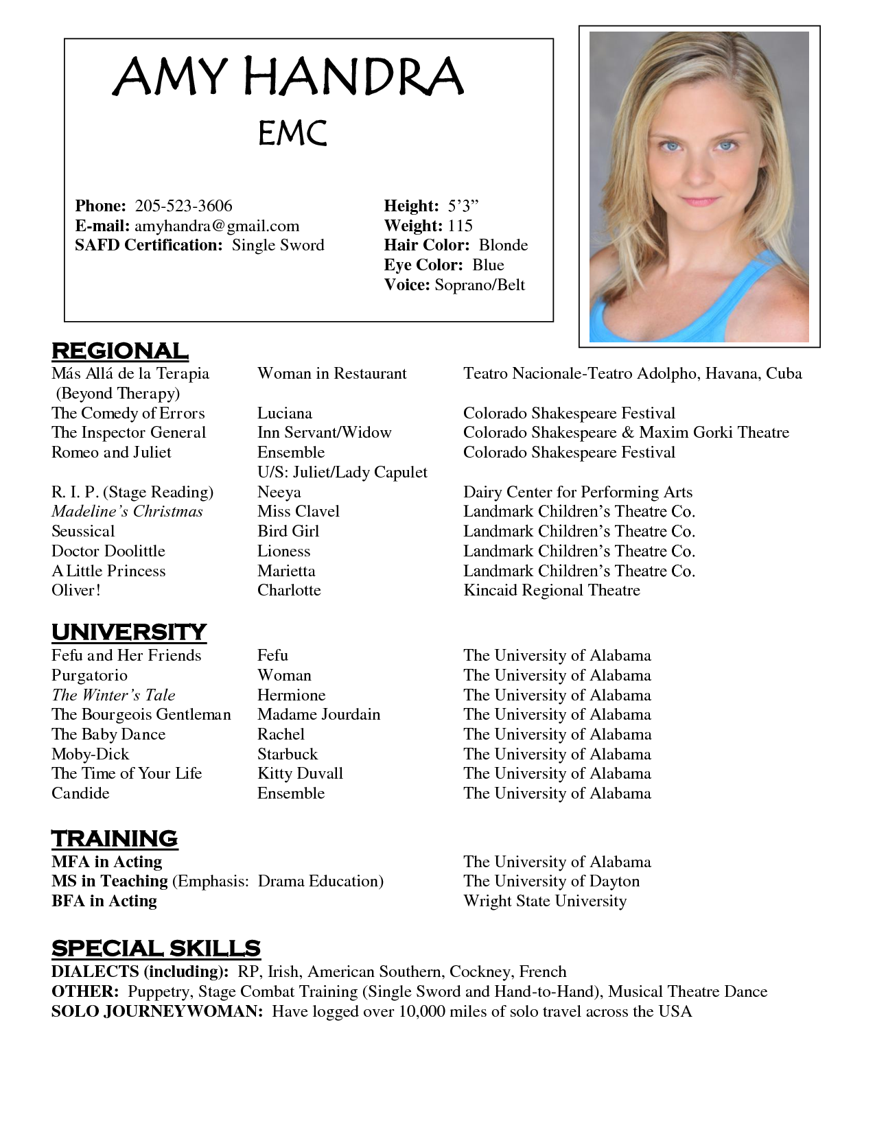 Sample Of Acting Resume Template resumecareerinfo – Sample Acting Resume