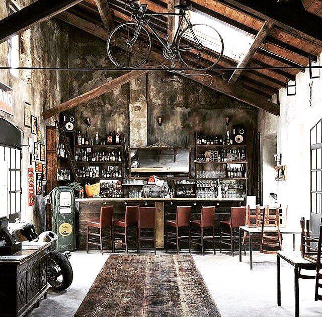 C H R I S T E L On Instagram Pub Cafe Drinks Bicycle Moto Motorcycle Ride Retro Vintage Decor Design Garage Design Industrial House Architecture