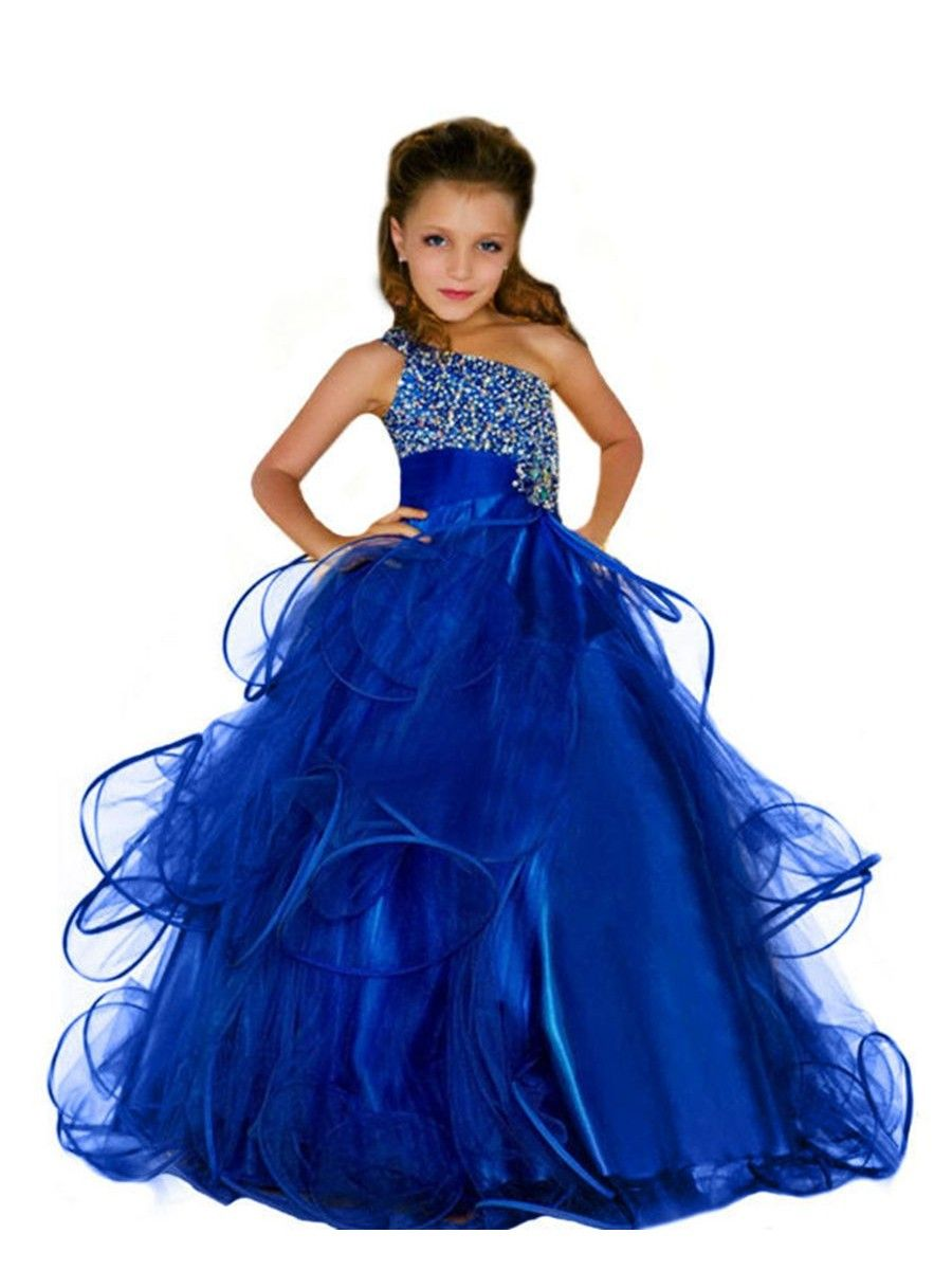 2c88265af Beaded One-Shoulder Long Blue Princess Ball Gown Flower Girl Dresses ...