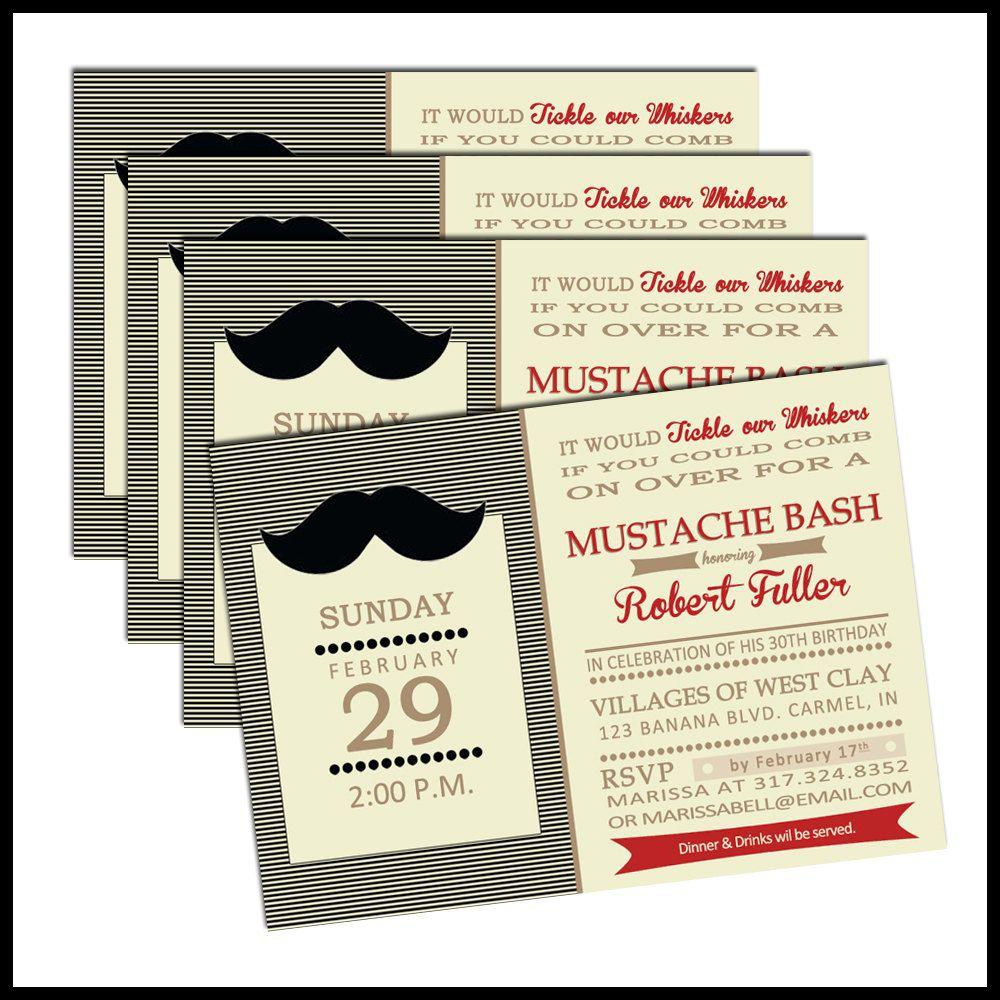 Mustache Party Invitation - Vintage Inspired Mustache Bash Birthday ...