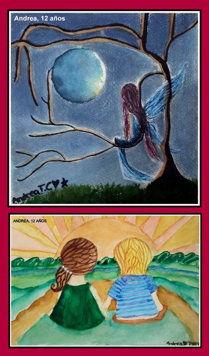 Dibujos De Amistad Y Fantasia En Acuarela Hechos Por Nina De 12