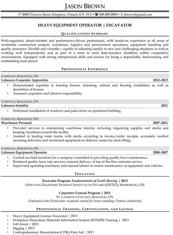 Resume Examples And Templates Resume Professional Writers Heavy Equipment Operator Heavy Equipment Equipment Operator