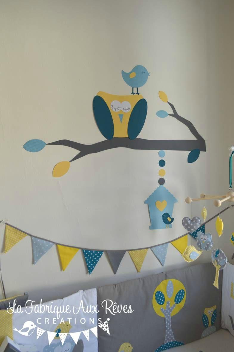 Dcoration chambre bb chouette hibou arbre oiseau nichoir bleu ciel jaune bleu ptrole canard