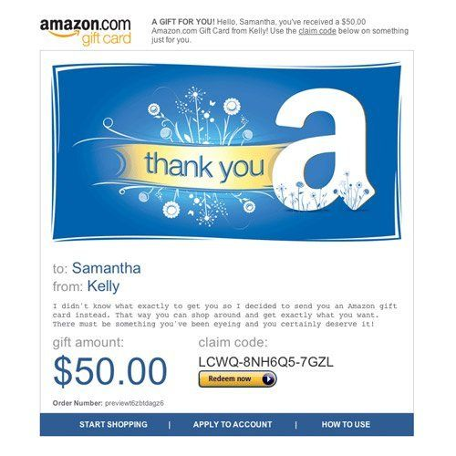 Amazon Gift Card E Mail Thank You Http Www Amazon Com Amazon Gift Card E Mail Thank Dp B004llildm Tag Sur Best Amazon Gifts Amazon Gift Cards Gift Card