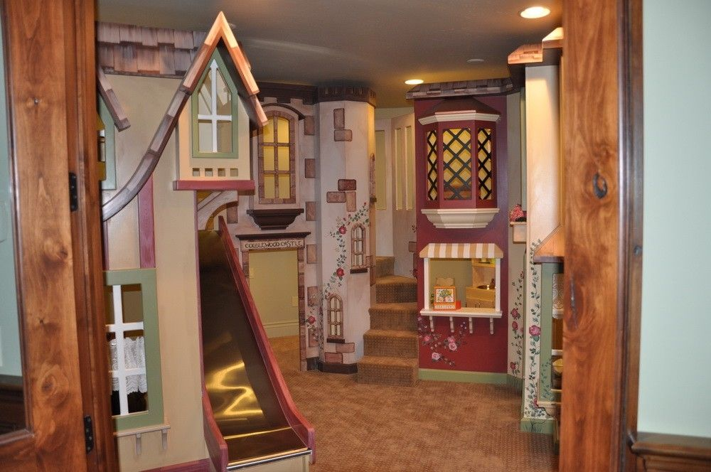 Custom euro castle indoor playhouse by tanglewood design for Indoor playground design ideas