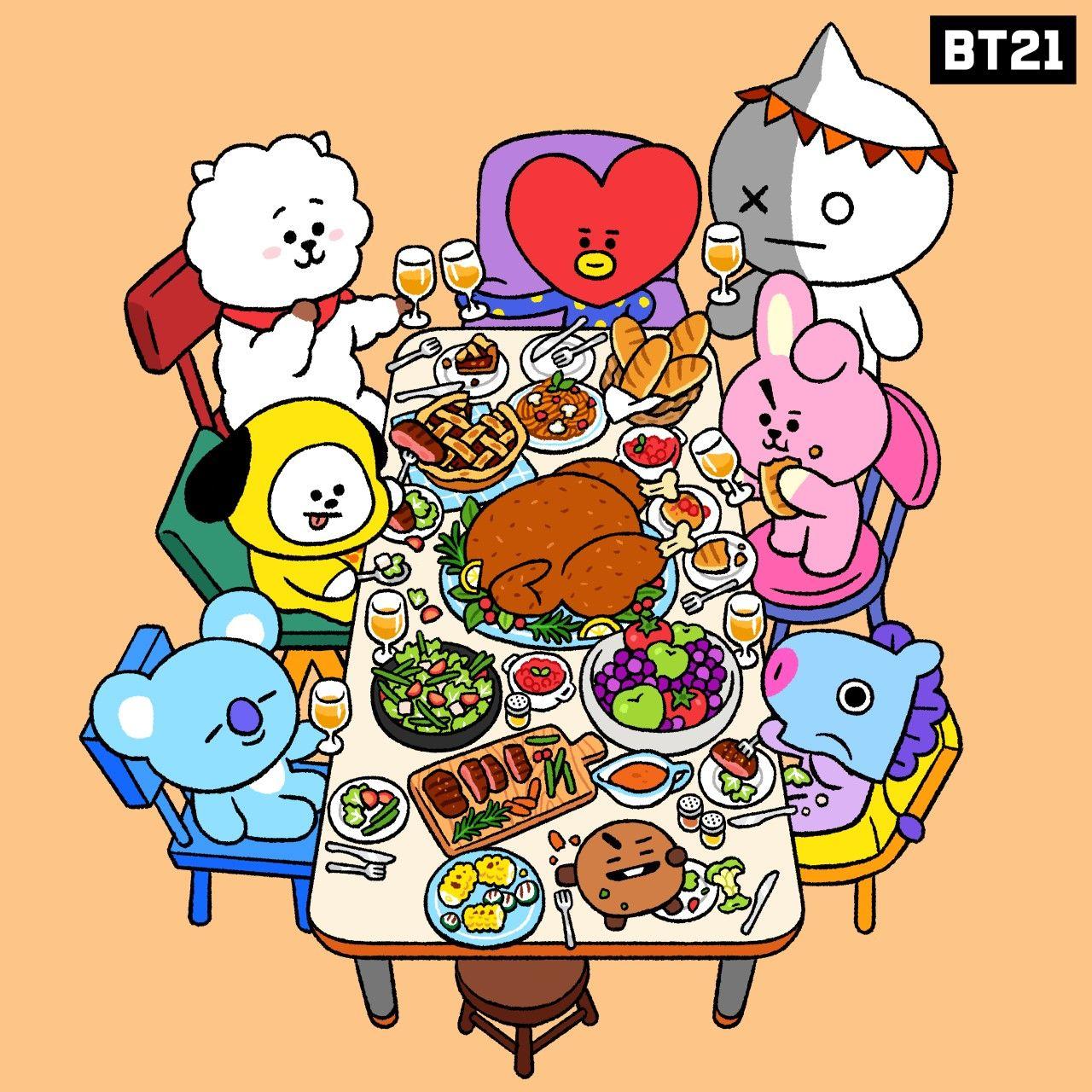 Bt21 On Twitter Bts Wallpaper Bts Fanart Thanksgiving Wallpaper