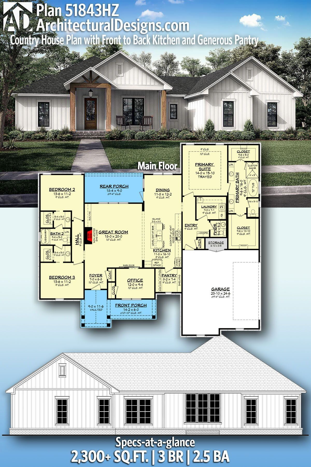 Plan 51843hz Country House Plan With Front To Back Kitchen And Generous Pantry House Plans Farmhouse Country House Plan Craftsman House Plans