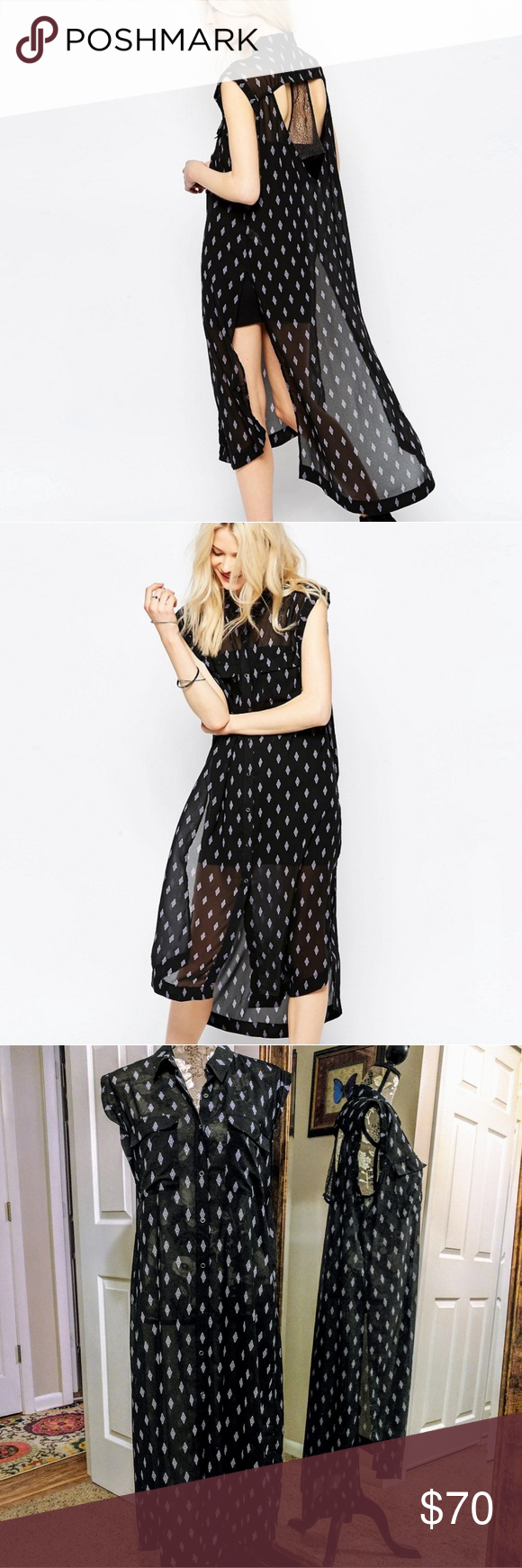 Free People Mercer Printed Shirt Dress Sheer maxi button down sleeveless shirtdress. Open crochet detail on back. Snap button closure. Side slits with slight high-low hem. There is some pulled thread at the bottom of the skirt in back (shown in last picture) Free People Dresses Maxi