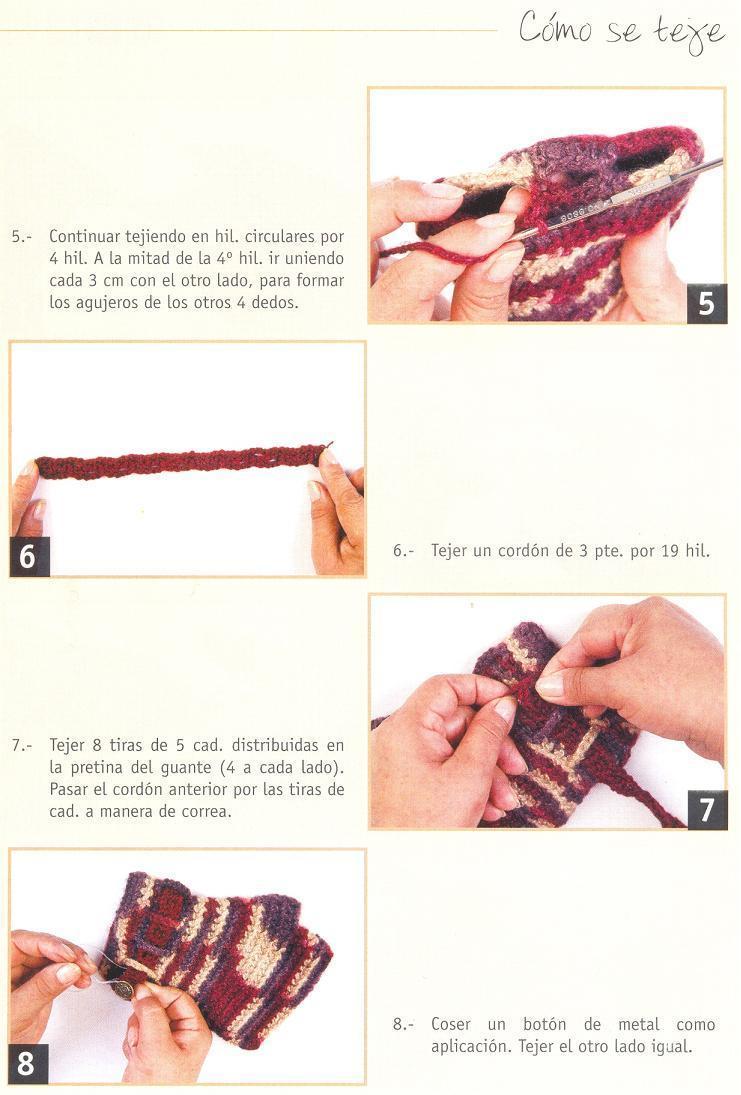 Patrones Crochet: Como hacer unos Guantes sin Dedos con Hebilla ...