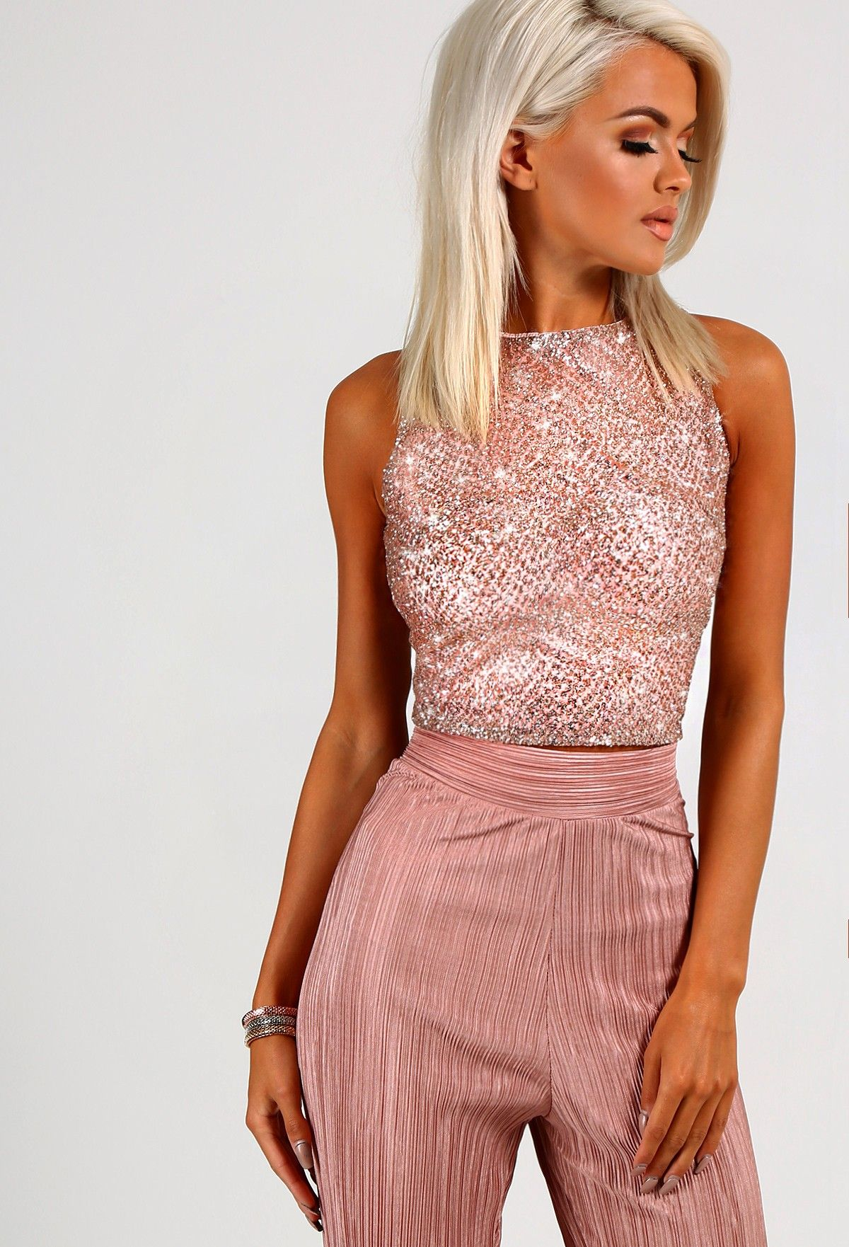872653d9c6492 Roseanne Rose Gold Glitter Crop Top - 8