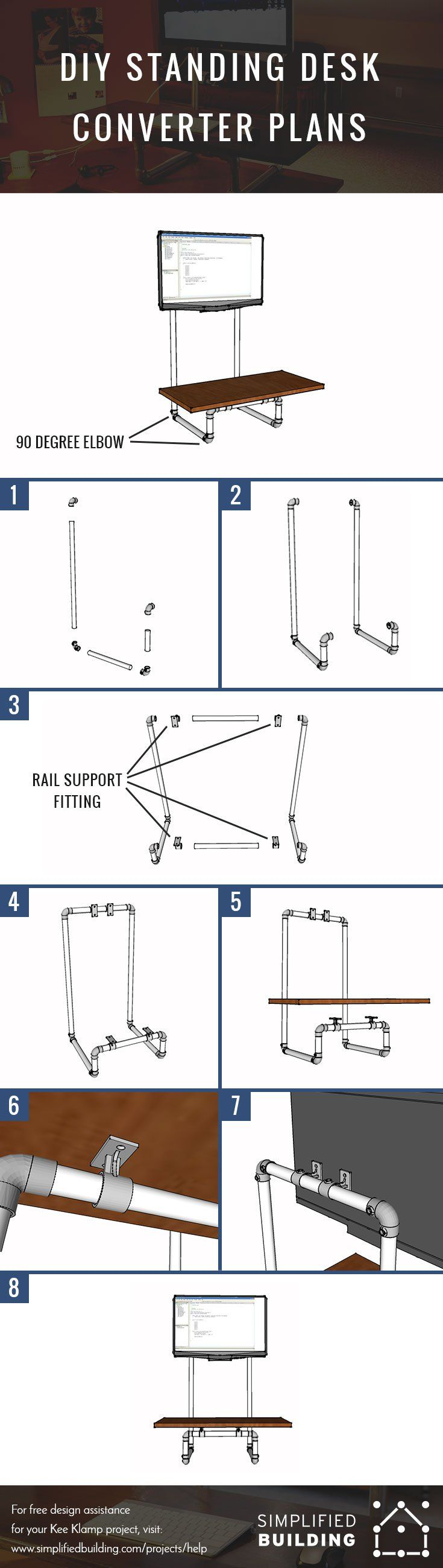 Diy standing desk plans - Diy Standing Desk Converter Step By Step Plans Keeklamp Diy