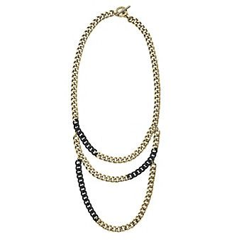 Michael Kors® Two-Tone, Jet Pave Links & Multi-Strand Curb Chain Toggle Necklace