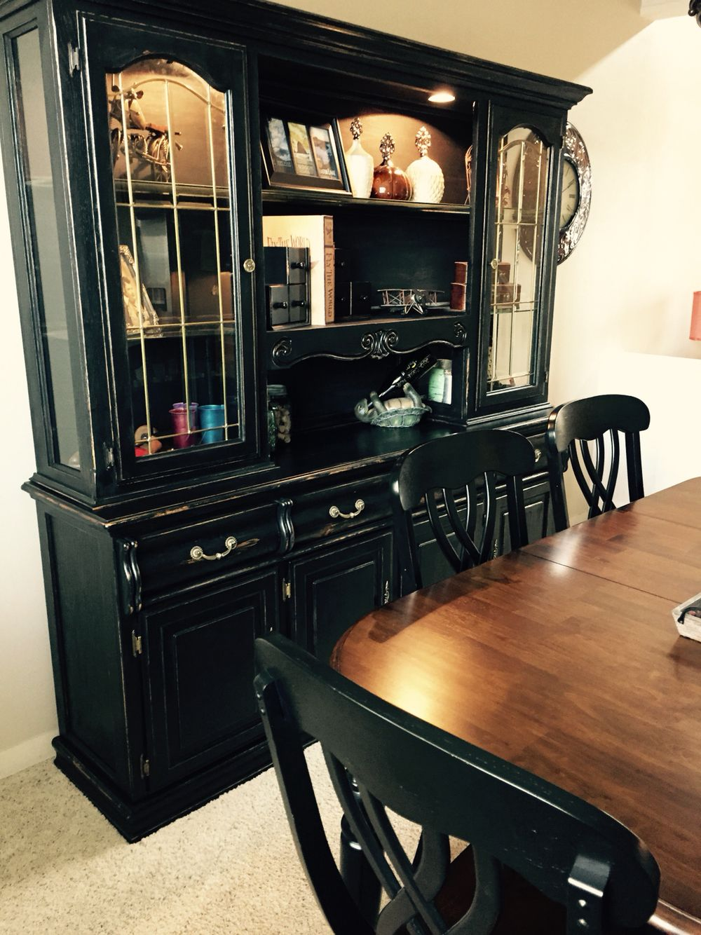 Oak Hutch Painted To Match My Black Table I Used Home Made Chalk Paint