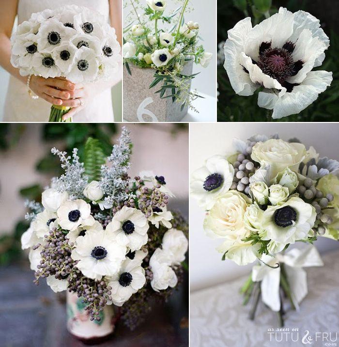 White Poppies White Bouquet White Bridal Bouquet White Poppy