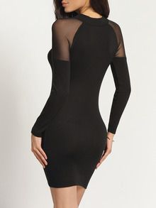 Vestido malla transparente entallado-(Sheinside)