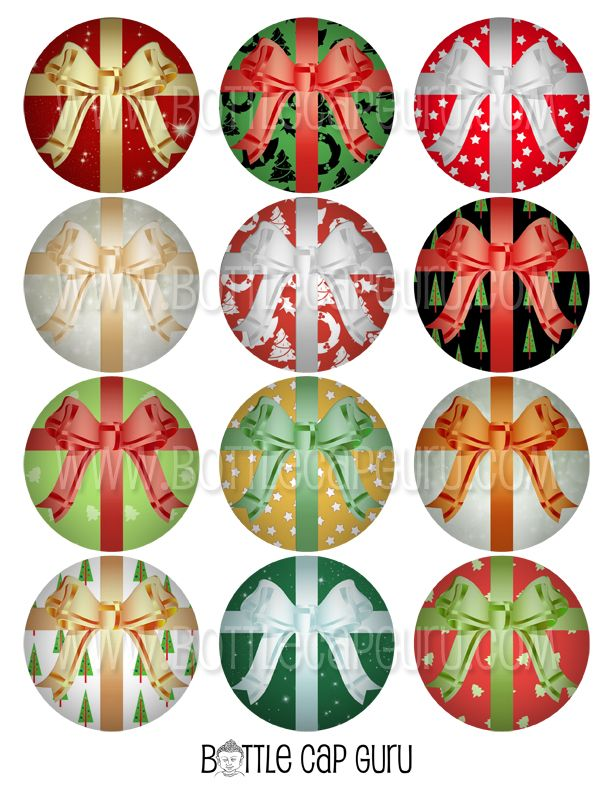 Christmas Gift Wrap 2 Inch Circles – Printable Bottle Cap Images for Gift Tags & Crafts. #Christmas #Printables #InstantDownload