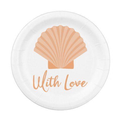 Seashell Orange Nautical Beach Wedding Party Paper Plate  sc 1 st  Pinterest & Seashell Orange Nautical Beach Wedding Party Paper Plate | Beach ...