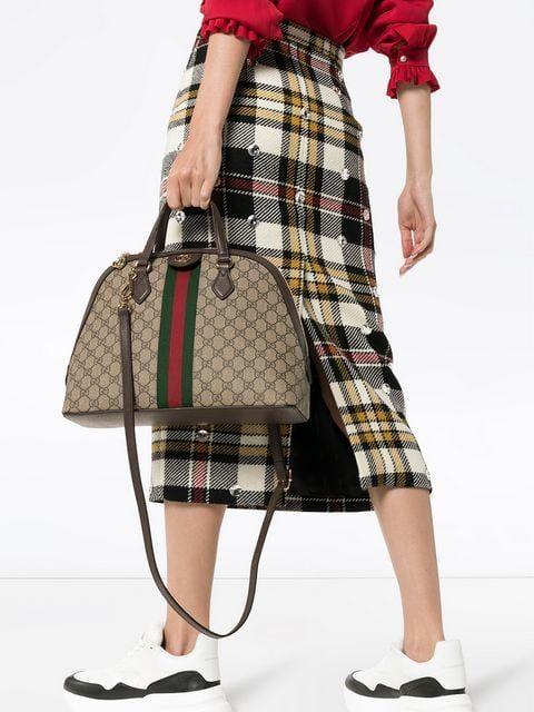 Gucci Beige Ophidia Gg Medium Top Handle Bag Farfetch Top Handle Bag Bags Gucci