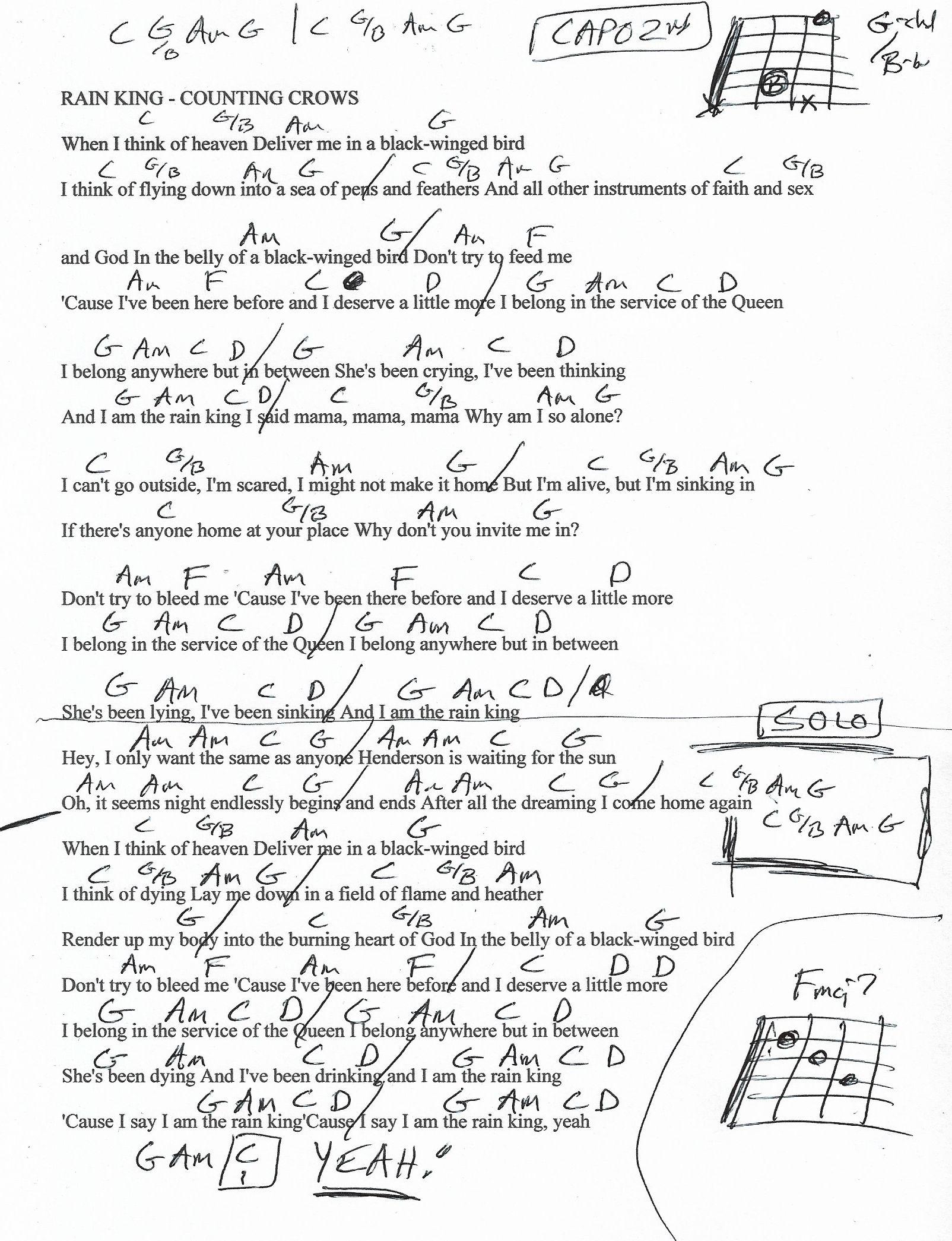 Rain King Counting Crows Guitar Chord Chart