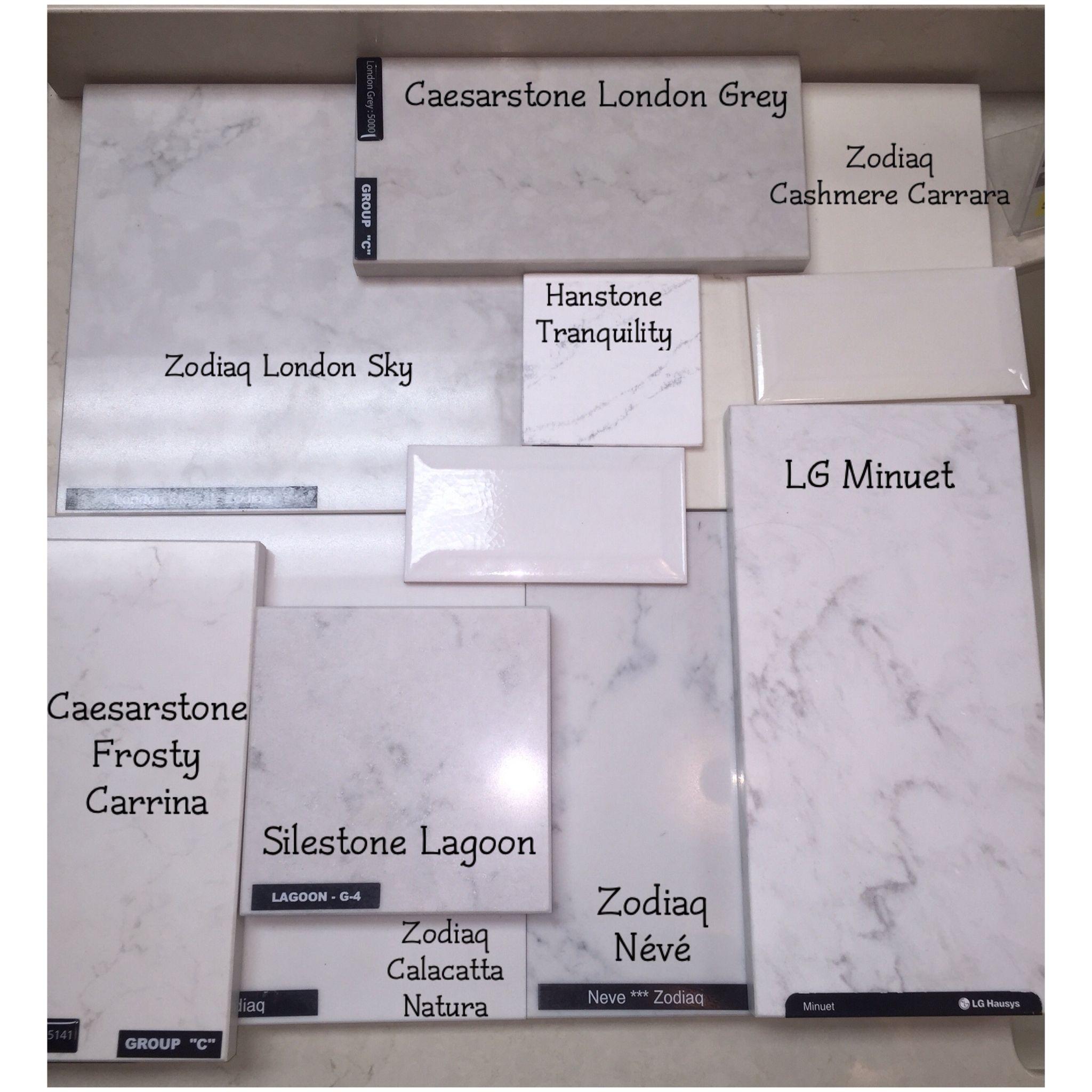 Various quartz countertop samples zodiaq london sky for Hanstone tranquility price