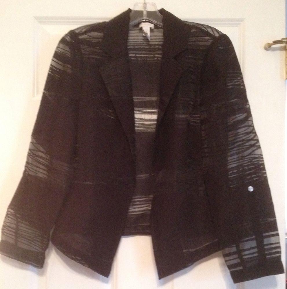 Chicos Stylish Romantic Sexy Semi Sheer Black Open Front Jacket Size 0 | eBay