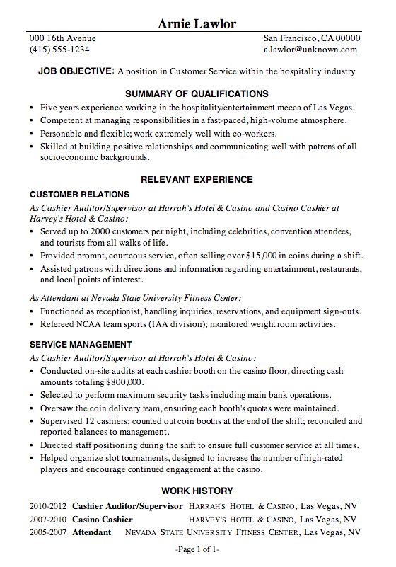 Resume Templates Hospitality Functional Resume Samples Job Resume Samples Customer Service Resume