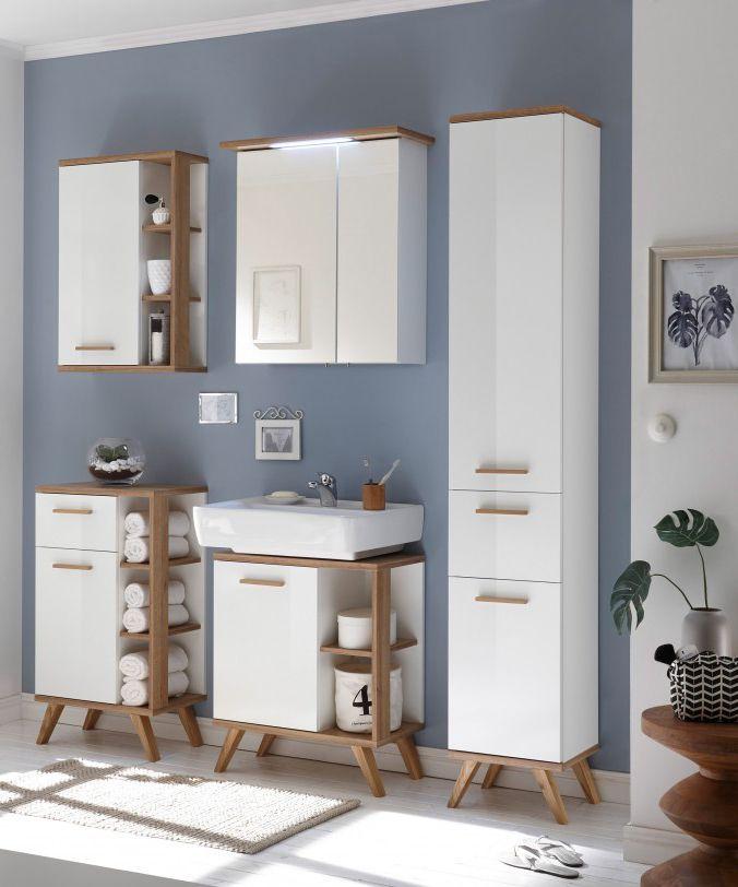 badezimmer noventa in wei hochglanz und eiche bringen die skandinavischen badm bel frischen. Black Bedroom Furniture Sets. Home Design Ideas