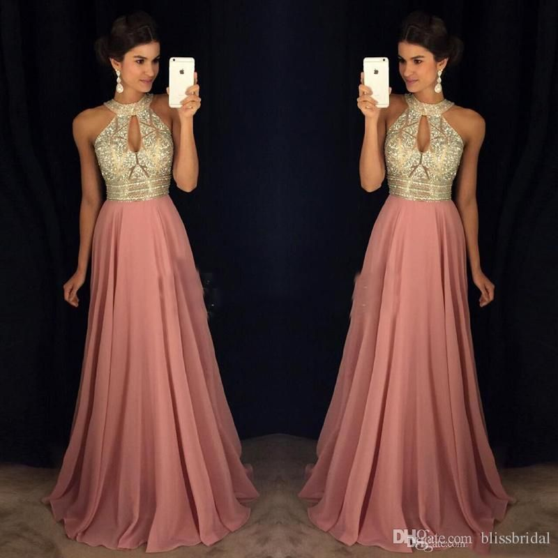 Pink Prom Evening Dresses 2017 A Line Halter Major Beaded Illusion