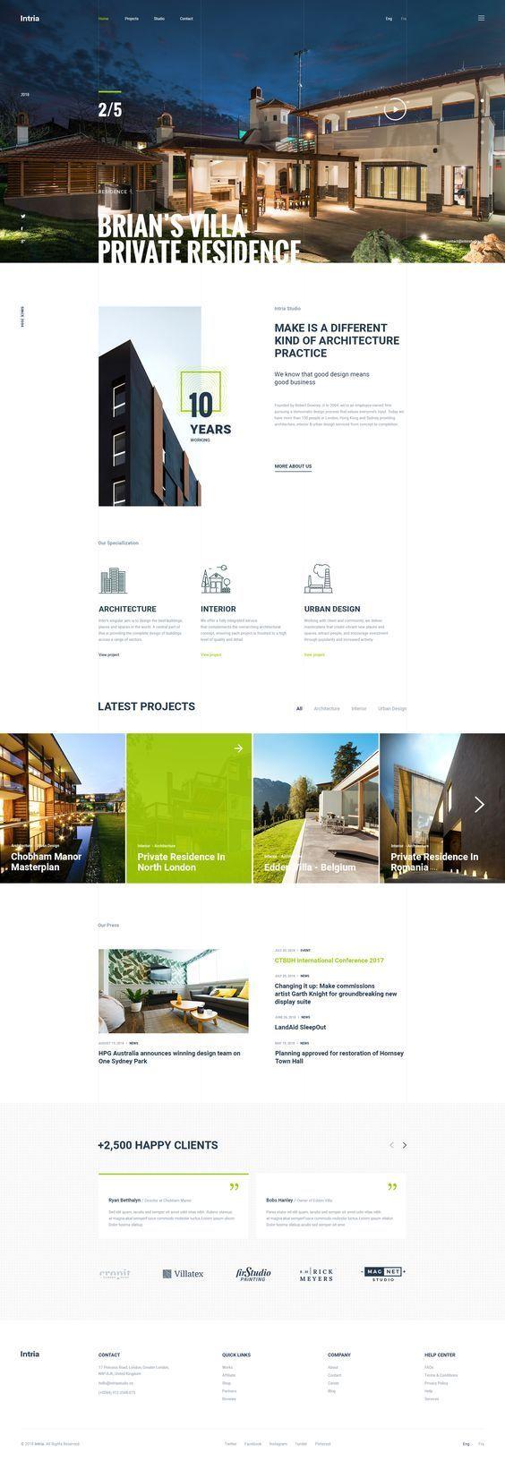 Intria Architecture Interior Psd Template Simple Web Design Interior Design Website Architecture Websites