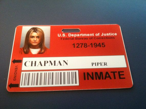 Piper Chapman - Inmate PVC ID Badge - Orange is the new Black This ...