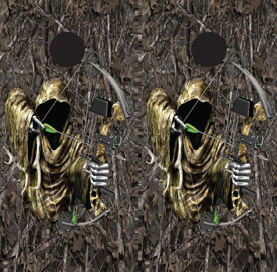 Grim reaper bow hunting duck snow camouflage cornhole game decal wraps