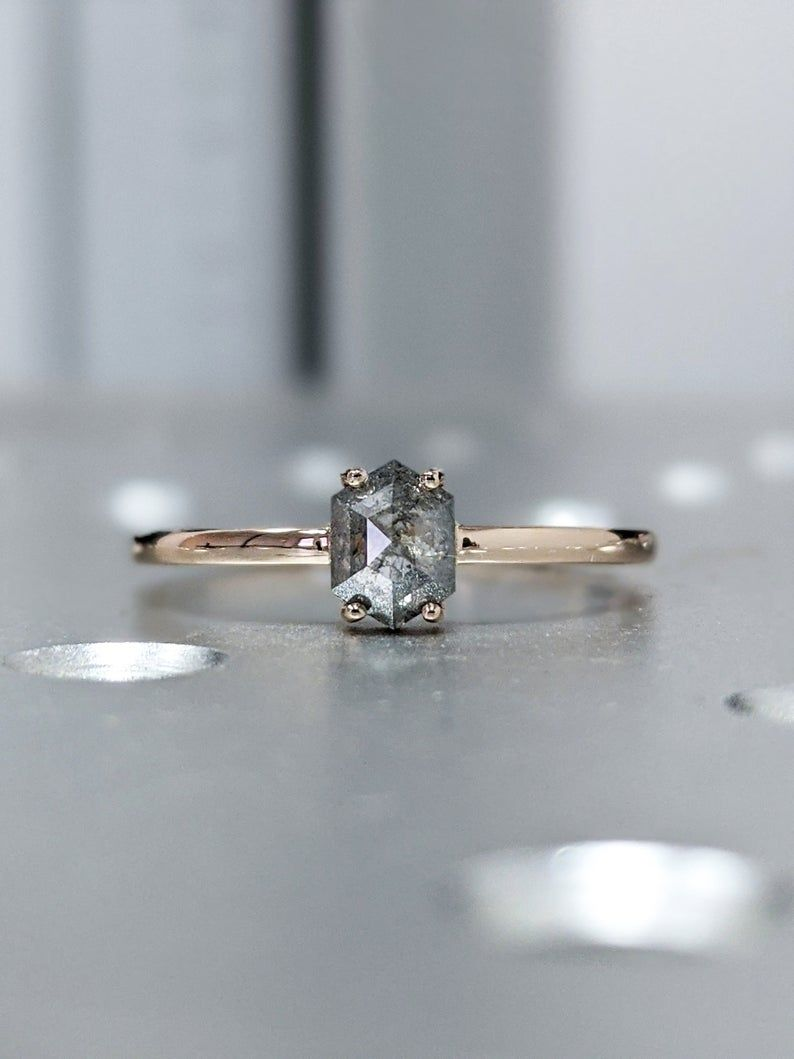Elongated Hexagon Salt and Pepper Diamond For Engagement Ring