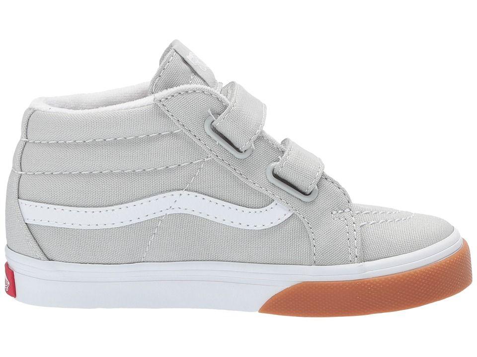 dc30822a74e456 Vans Kids Sk8-Mid Reissue V (Toddler) Boys Shoes (Gum Bumper) Glacier Gray True  White