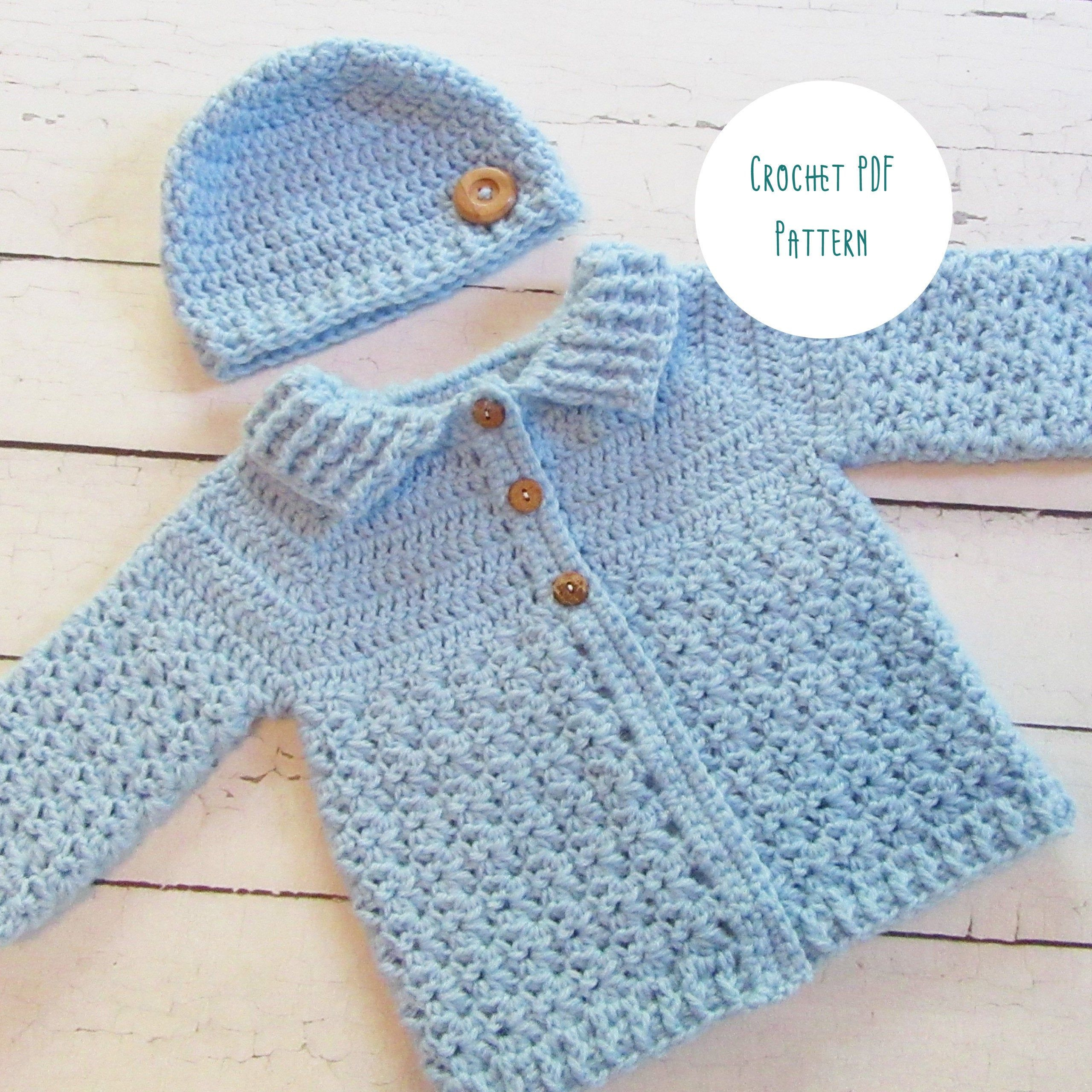 Blue Baby Sweater and Hat Crochet Baby Boy Sweater /& Hat Set Baby Shower Gift for Baby Homecoming Baby Outfit Handmade Infant Gift