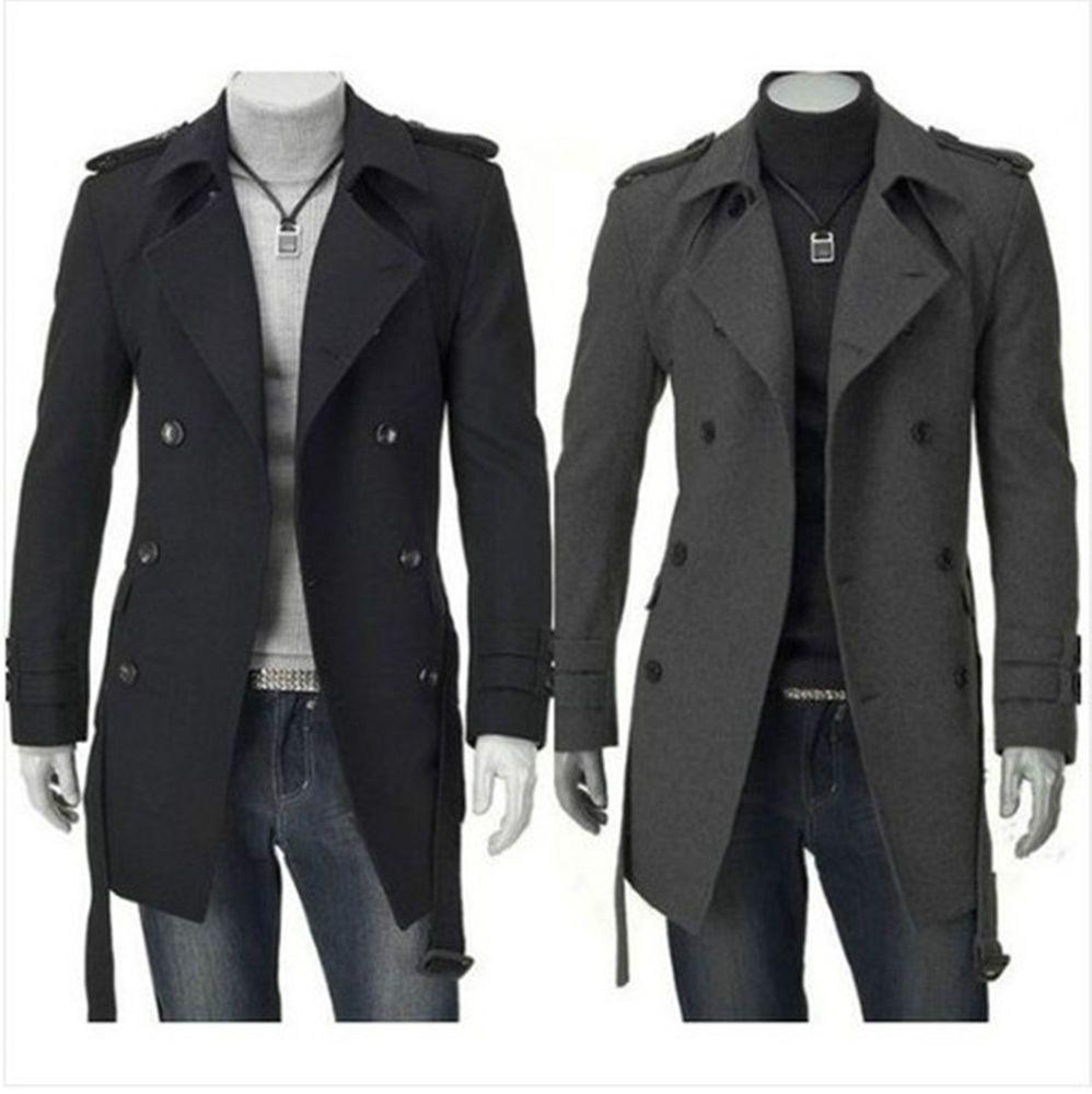 Mens Pea Coats Men Horns Buckle Jacket Winter Trench Long Outwear Button Smart Overcoat Coats