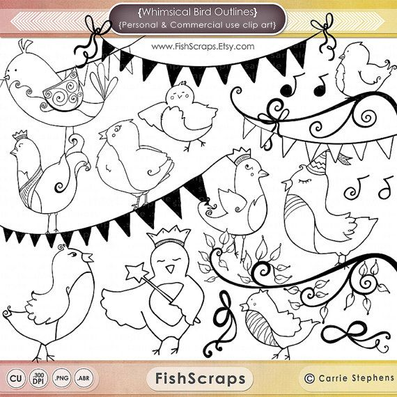 Whimsical Bird Doodles  - Bird Outlines - Bird Clip Art for Personal and Commercial (Small Business use)  Hand Drawn Banners, Buntings, Tree branch and Bows.  Photoshop Brushes and PNG Clip art both included.  Great for Hand Embroidery or coloring with copic markers!