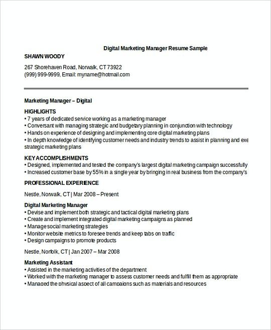 Marketing Specialist Resume Digital Marketing Manager Resume Template  Professional Manager