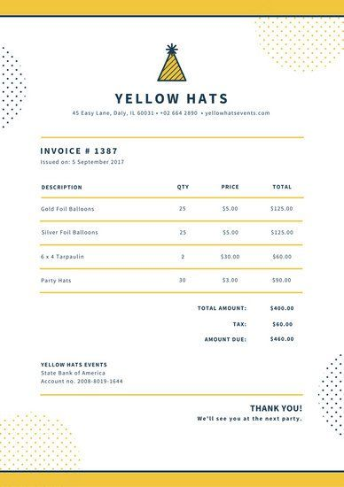Yellow and Dark Blue Invoice Letterhead Stellar Canva Templates - invoice letterhead
