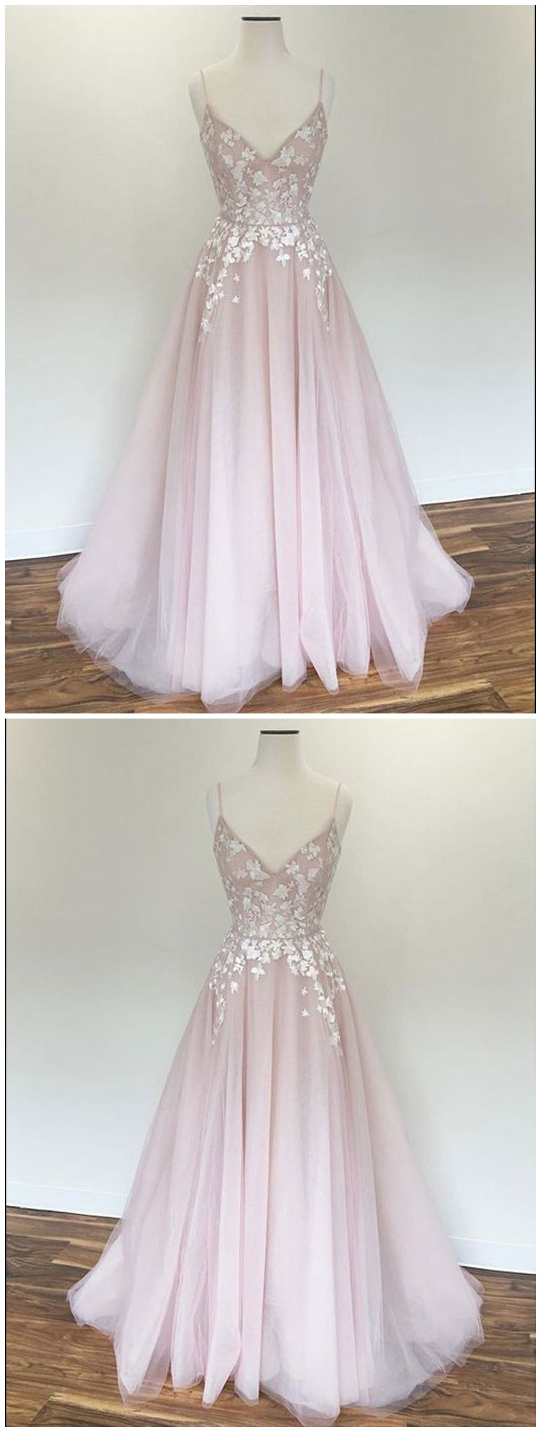 Spaghetti straps prom dress aline pink applique modest long prom