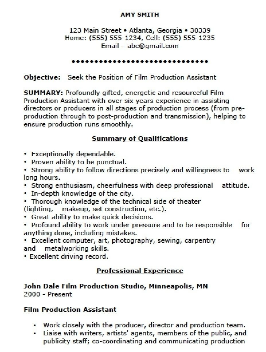Top 20 Production Assistant Resume Resume Examples Assistant Jobs Job Resume Samples