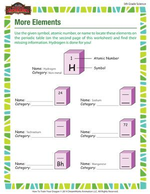 More Elements - Printable 5th Grade Science Worksheet