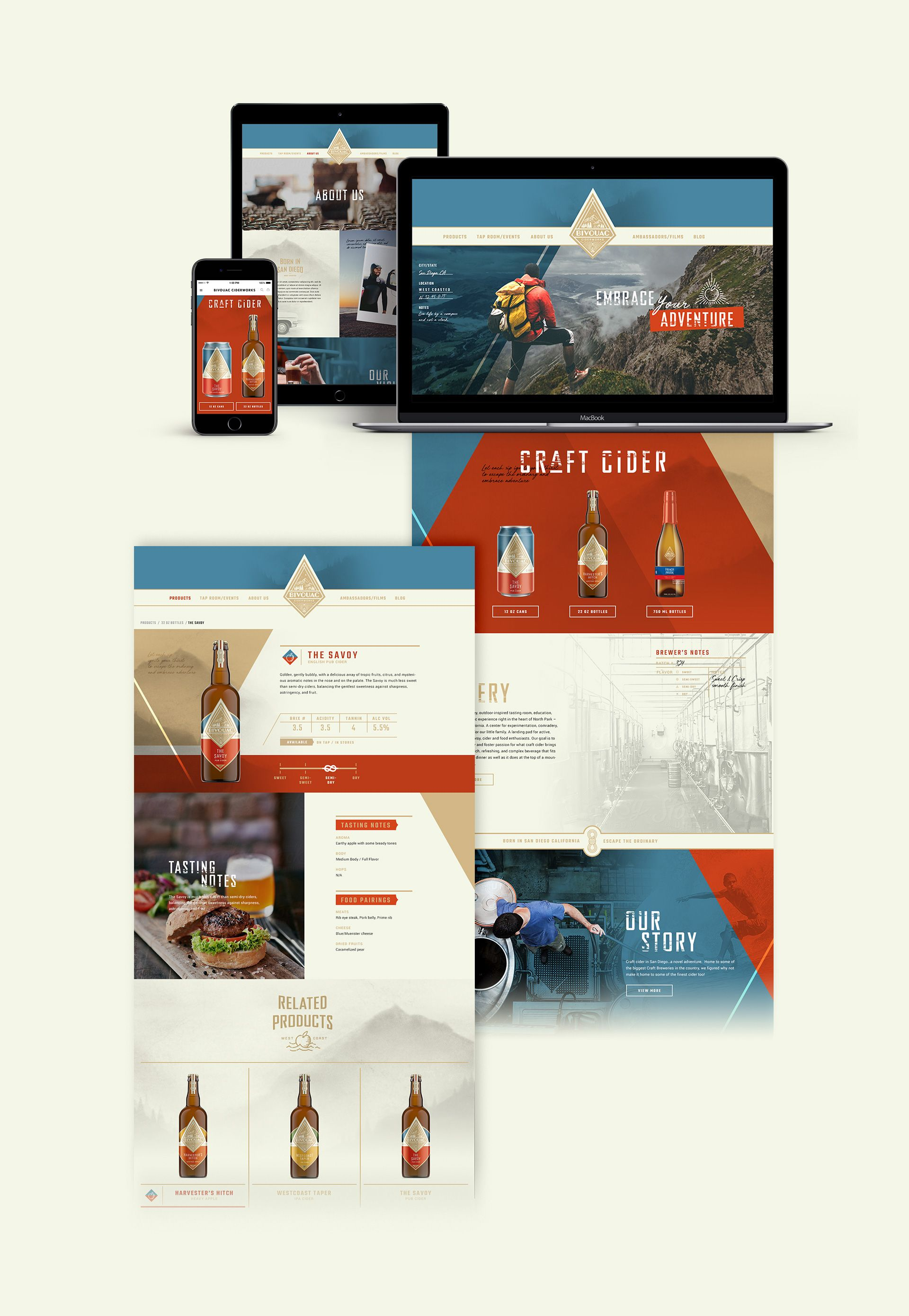 Bivouac Ciderworks In North Park San Diego Is A Place Where Locals Experience The Nostalgia Of Adventure While Enjoying Farm Design Web Layout Design Branding