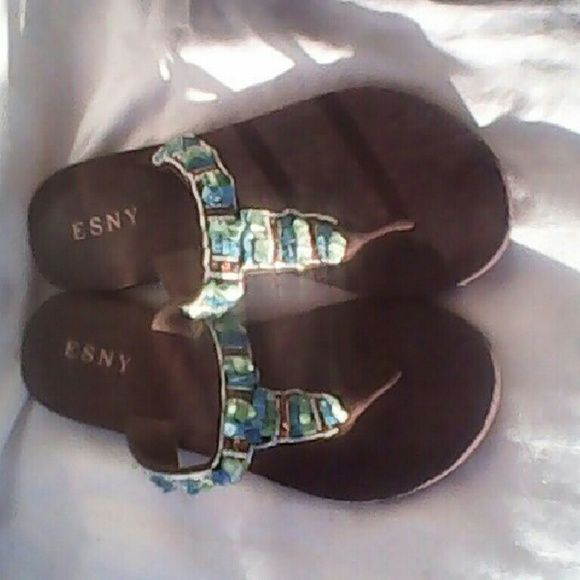 226fcb053 Beaded Esny Sandals Pre-Owned but look new. Esny Shoes Sandals