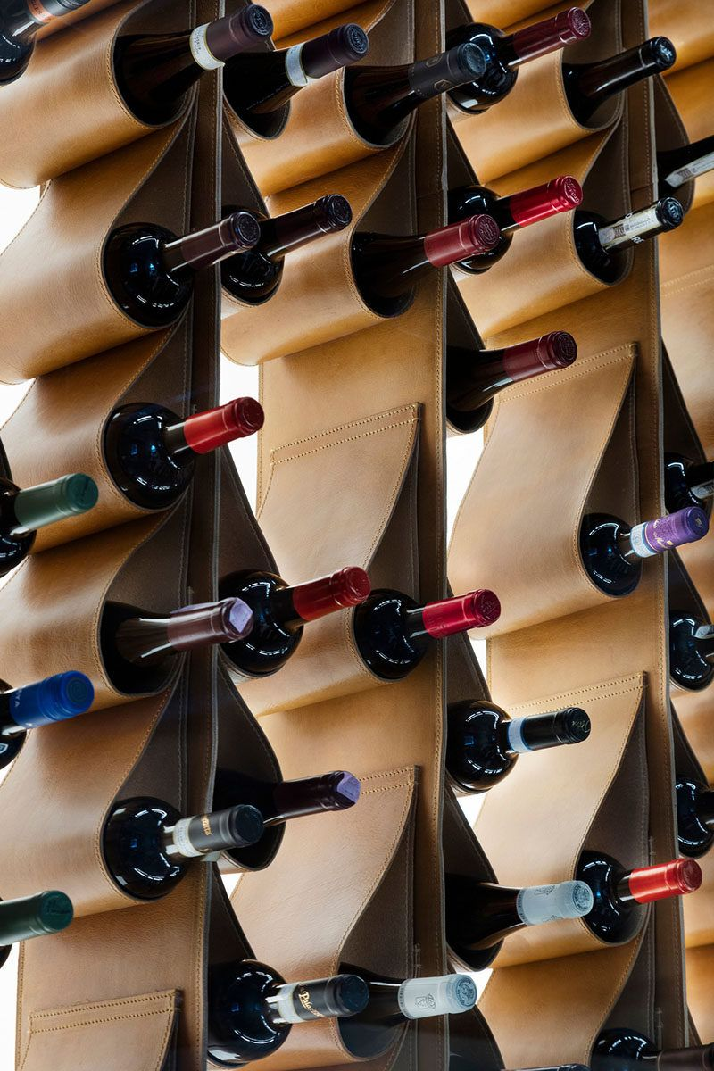 A Leather Wine Wall Doubles As Art In This Restaurant & A Leather Wine Wall Doubles As Art In This Restaurant | Wine display ...